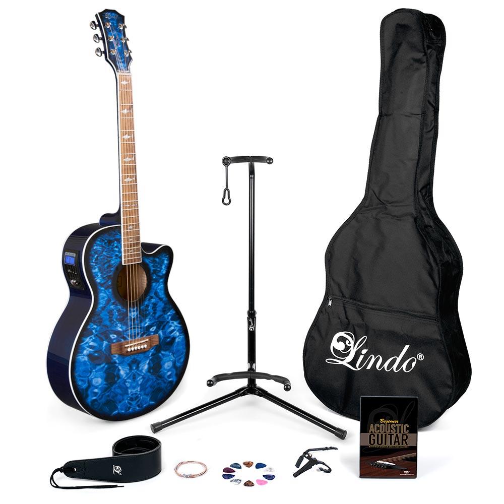 Sensational Lindo Blue Shark Electro Acoustic Guitar Pack Dvd Stand Plectrums Wiring Cloud Timewinrebemohammedshrineorg