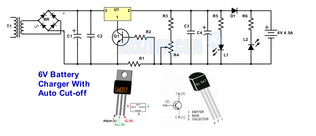 Fantastic 6V Battery Charger Circuit With Auto Cut Off Using Lm317 And Bc547 Wiring Cloud Monangrecoveryedborg