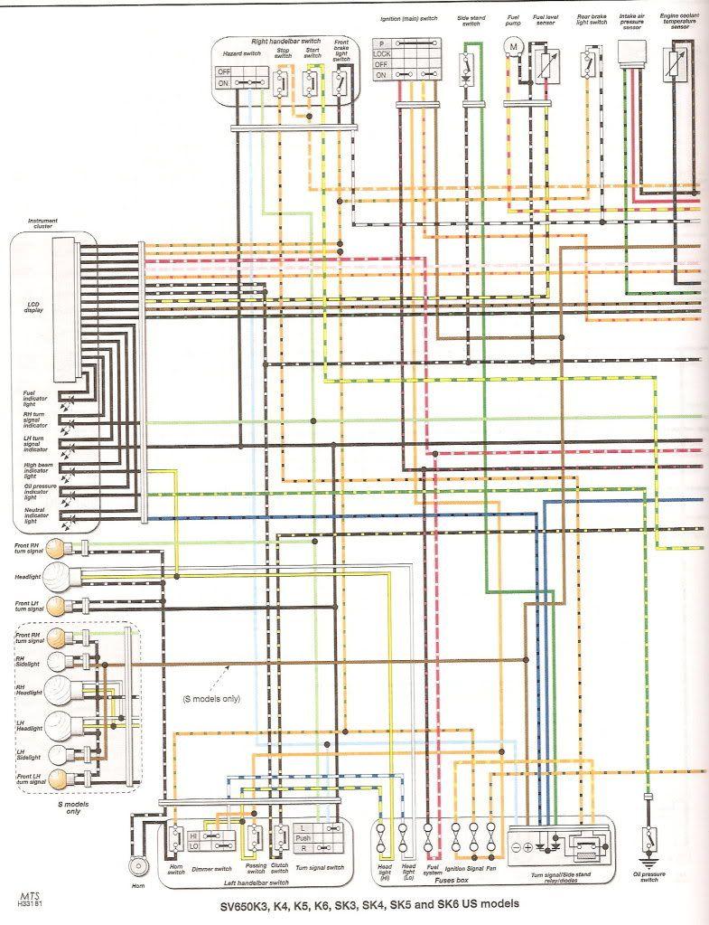 Awe Inspiring Faq Colored Wiring Diagram All Sv650 Models Suzuki Sv650 Wiring Cloud Licukshollocom