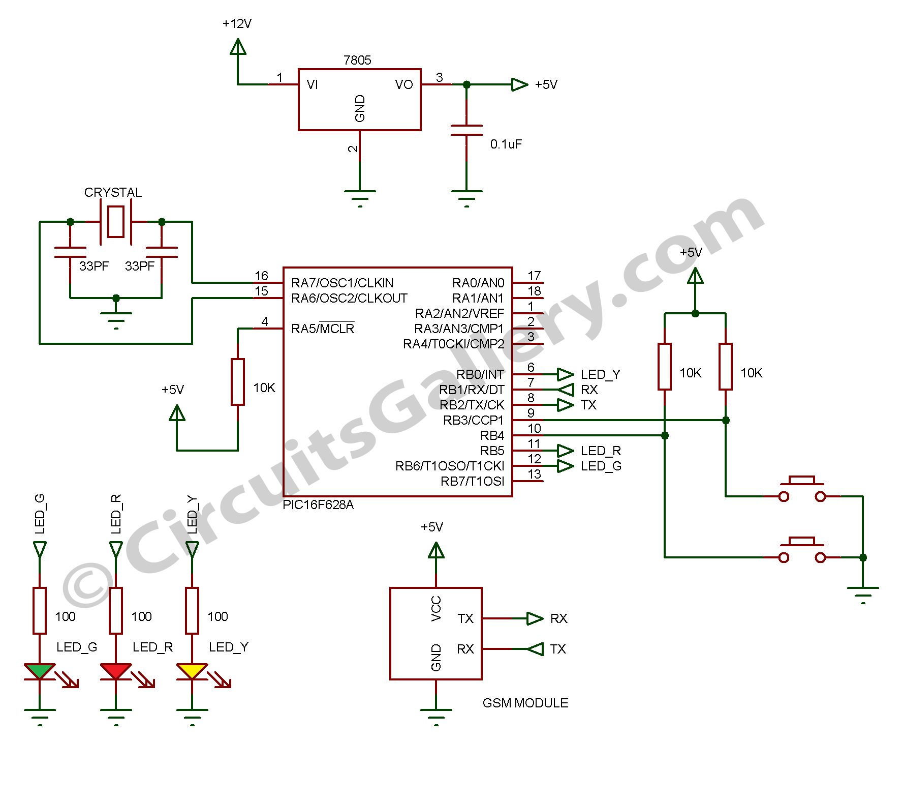 Pleasant How To Interface Gsm Module Sim300 With Pic 16F628A Microcontroller Wiring Cloud Gufailluminateatxorg
