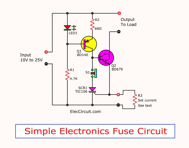 Pleasing Simple Electronic Fuse Circuit Eleccircuit Com Wiring Cloud Staixaidewilluminateatxorg