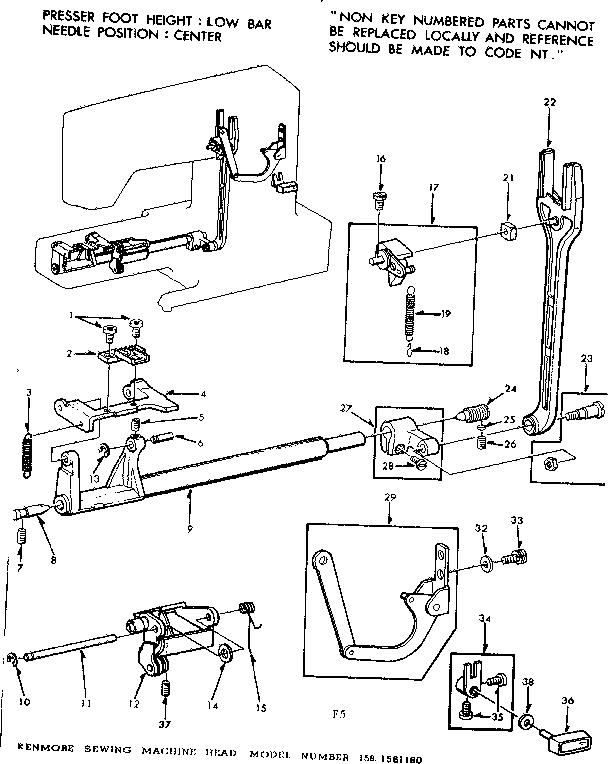 Rr 5168 Diagram Parts List For Model 3851950180 Kenmoreparts Sewingmachine Download Diagram