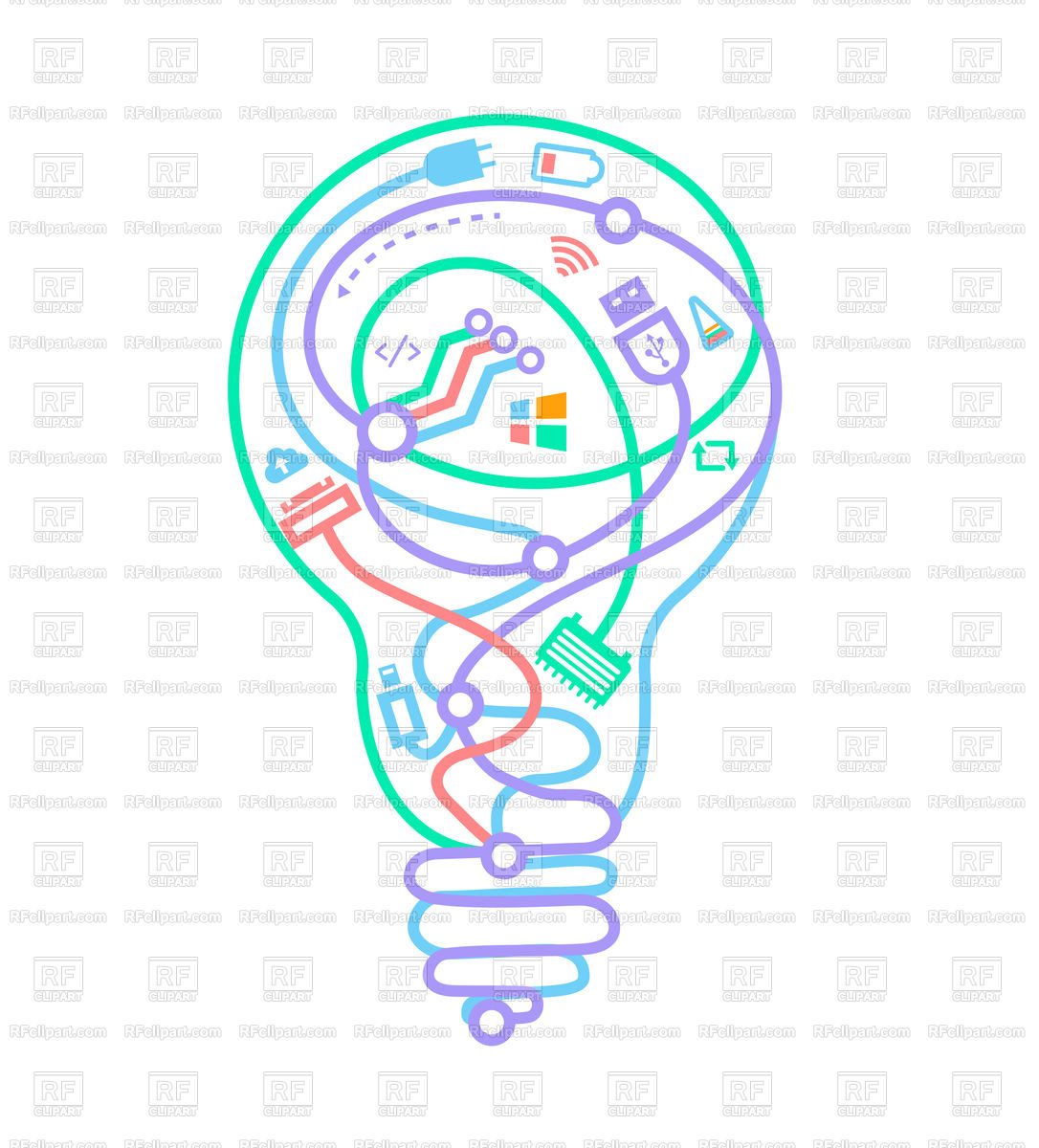 Miraculous Light Bulb With Different Wires Vector Image Of Objects C Rodnikovay Wiring Cloud Onicaxeromohammedshrineorg