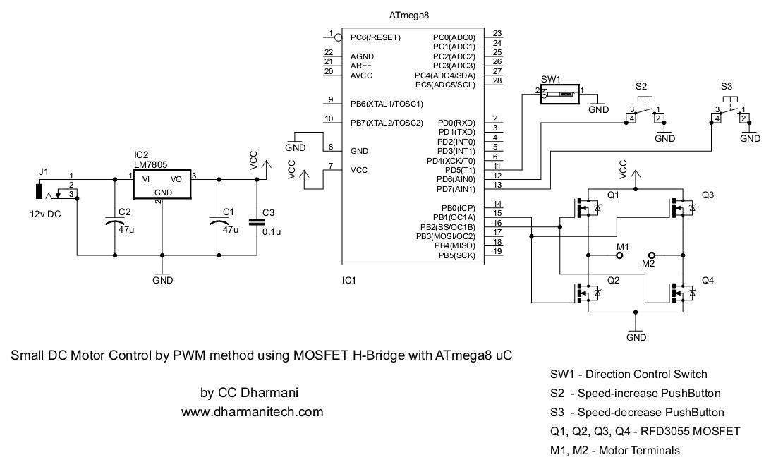 atmega8 circuit diagram vg 9935  pwm motor driver with mosfet h bridge and avr atmega8  pwm motor driver with mosfet h bridge