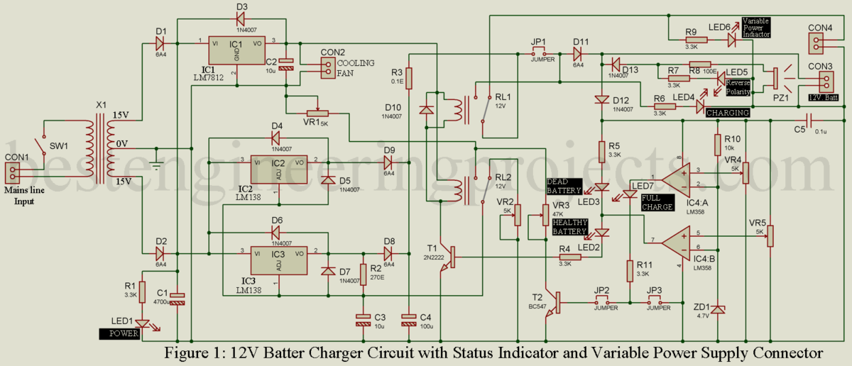 Excellent 12V Lead Acid Battery Charger Circuit Engineering Projects Wiring Cloud Lukepaidewilluminateatxorg