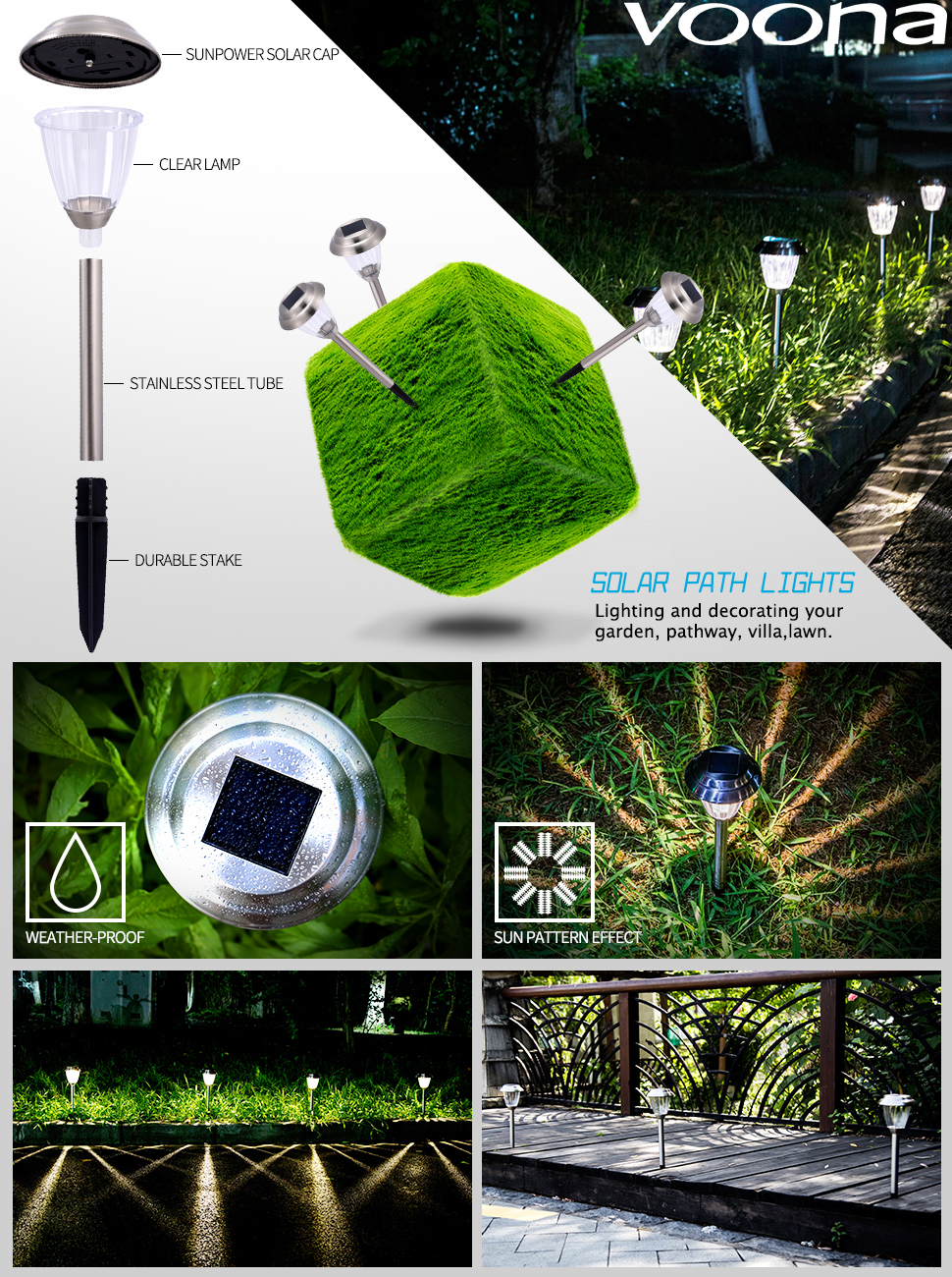 Marvelous Amazon Com Voona Solar Led Outdoor Lights 8 Pack Stainless Steel Wiring Cloud Apomsimijknierdonabenoleattemohammedshrineorg