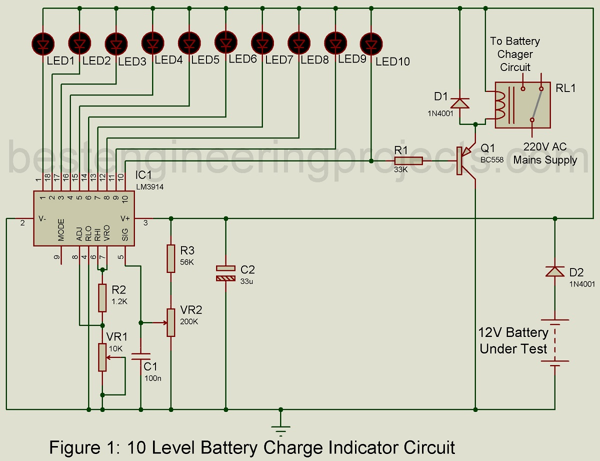 Pleasant 10 Level Battery Charge Indicator Circuit Engineering Projects Wiring Cloud Apomsimijknierdonabenoleattemohammedshrineorg