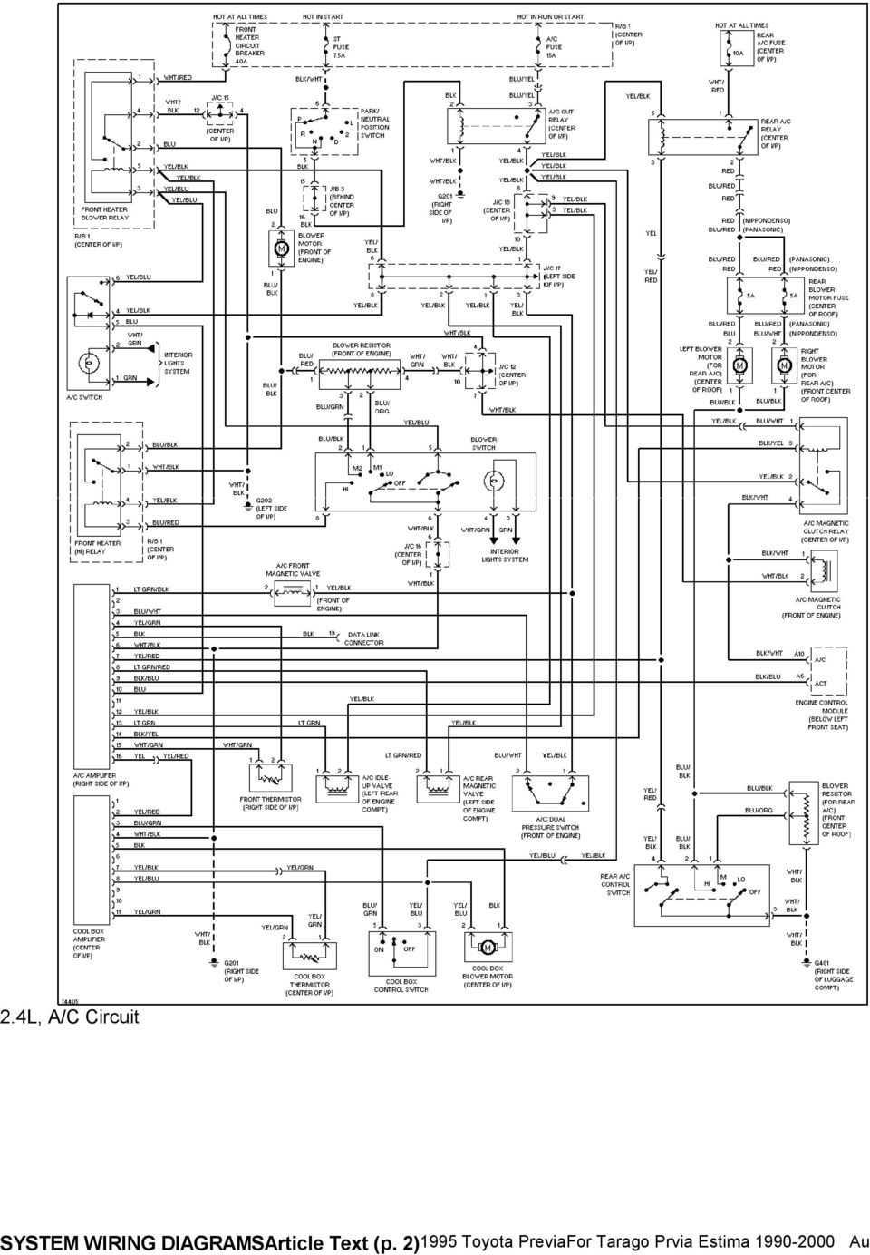 Fabulous 1995 System Wiring Diagrams Toyota Previa 2 4L Sc A C Circuit Wiring Cloud Orsalboapumohammedshrineorg