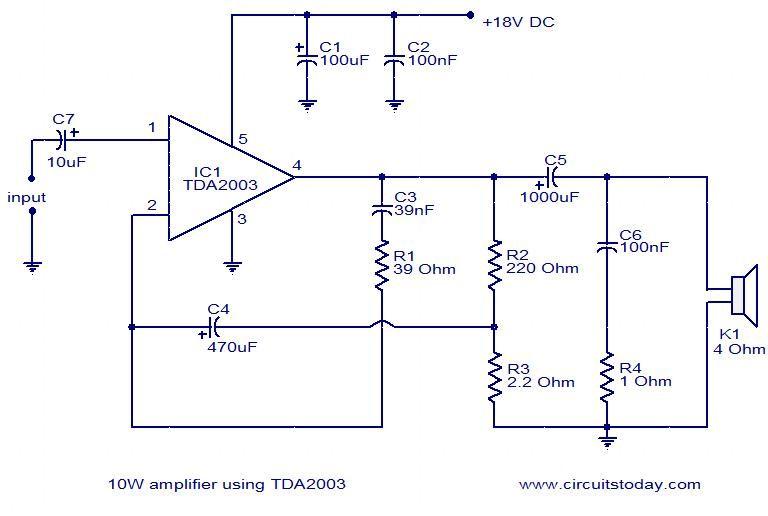 Superb 10W Amplifier Using Tda2003 Diy Car Audio Amplifier Audio Wiring Cloud Vieworaidewilluminateatxorg