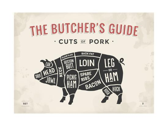 Magnificent Cut Of Meat Butcher Diagram Pig Art Print By Foxysgraphic Art Com Wiring Cloud Monangrecoveryedborg