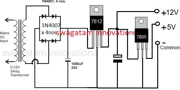 Marvelous 12 5V Regulated Power Supply Circuit Using Ic 7812 And Ic 7805 Wiring Cloud Hemtegremohammedshrineorg