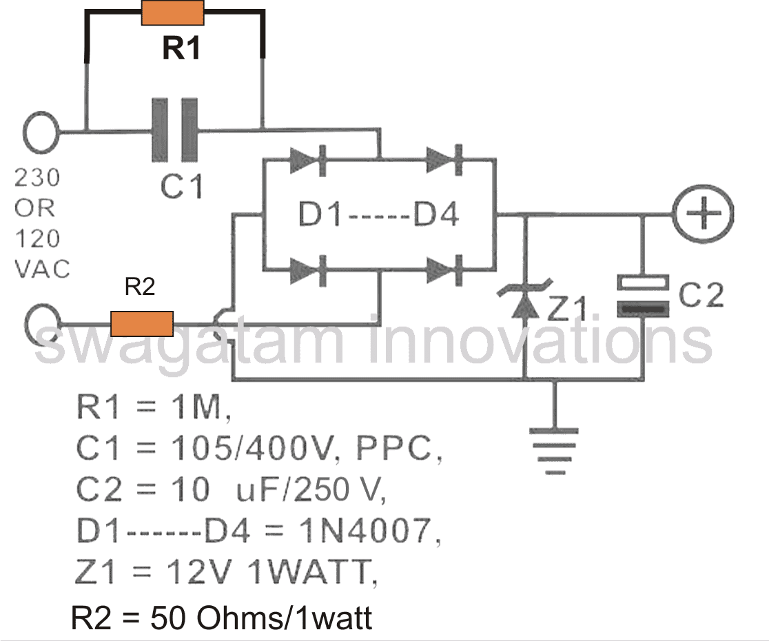Tremendous Transformerless Power Supply Circuit Electronic Circuits And Basic Wiring Cloud Overrenstrafr09Org