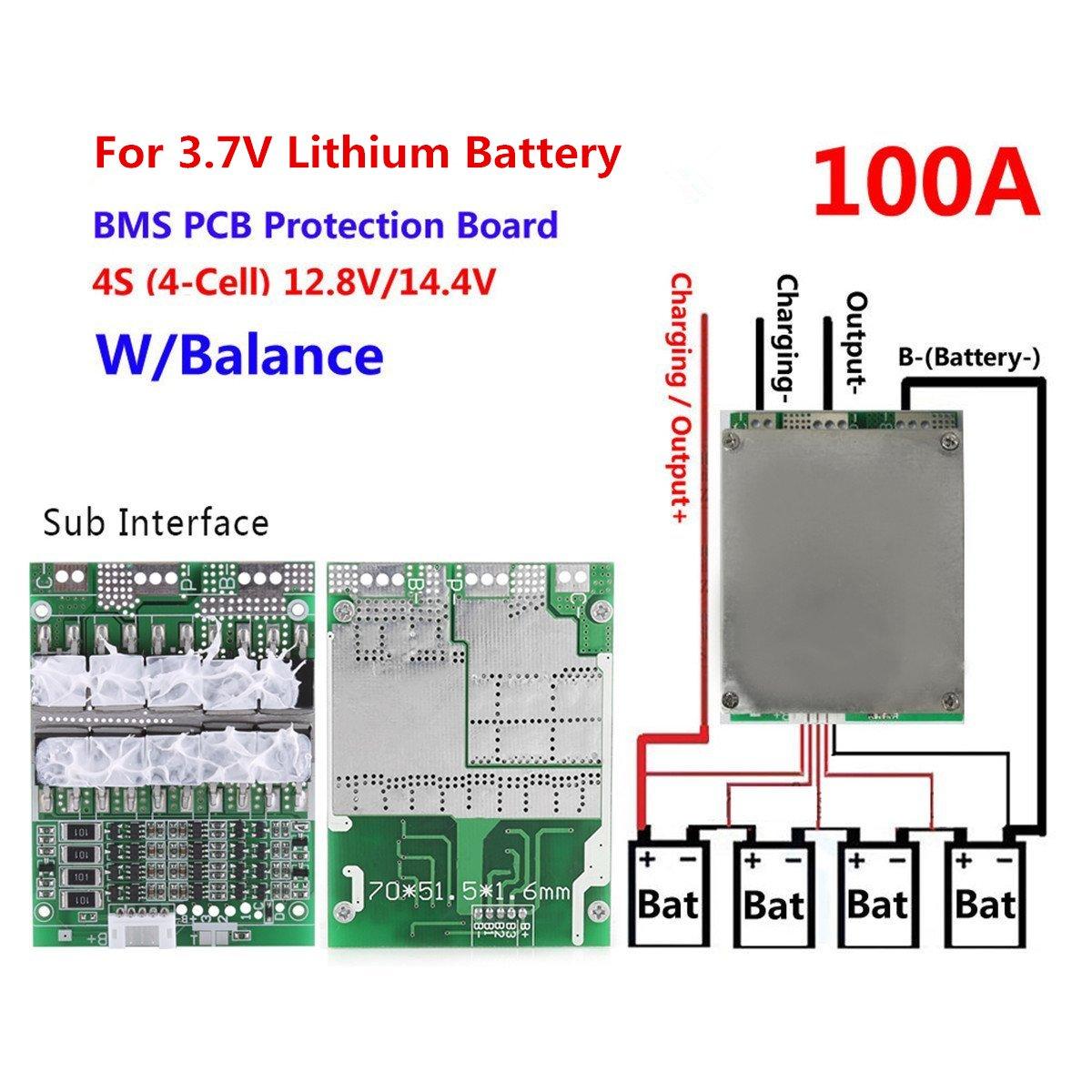 Miraculous Amazon Com Knacro 3 7V 4S 100A 12V W Balance Lithium Battery Bms Wiring Cloud Filiciilluminateatxorg