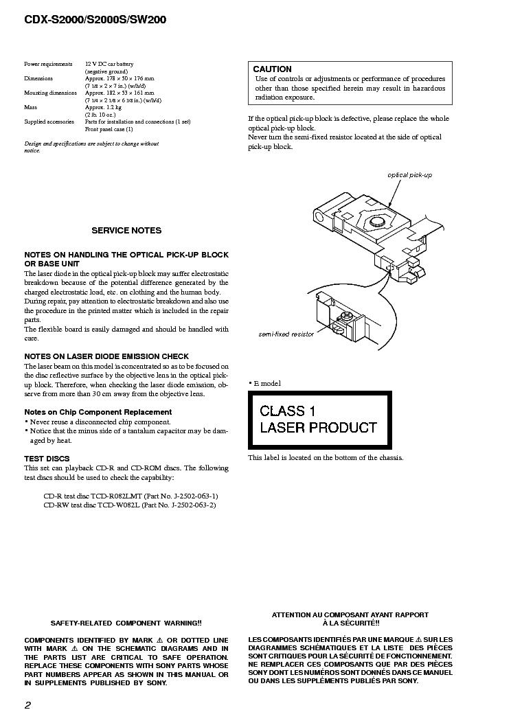Sony Cdx Sw200 Wiring Diagram