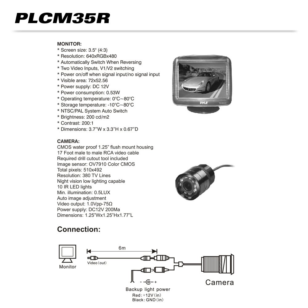 Wiring Diagram For Pyle Backup Camera