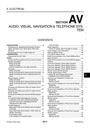 Fantastic 2003 Nissan Murano Audio Visual System Section Av Pdf Manual Wiring Cloud Eachirenstrafr09Org
