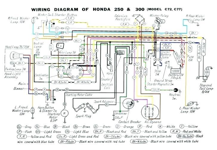 Honda 250 And 300 Model C72c77 Electrical Wiring Diagram ...