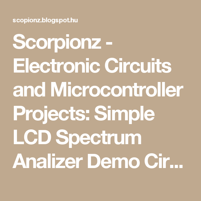 Magnificent Scorpionz Electronic Circuits And Microcontroller Projects Simple Wiring Cloud Grayisramohammedshrineorg