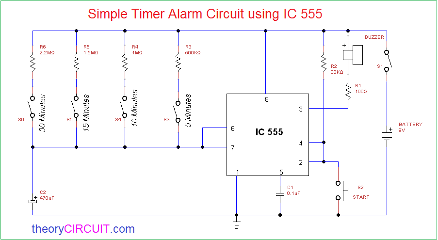 Magnificent Simple Timer Alarm Circuit Using Ic 555 Wiring Cloud Eachirenstrafr09Org