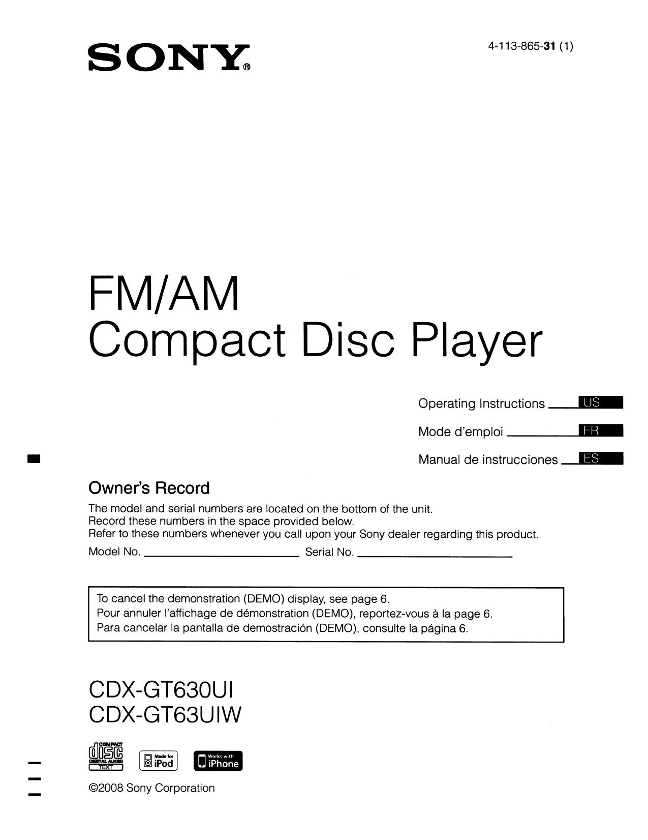 Wondrous Download Free Pdf For Sony Xplod Cdx Gt630Ui Car Receiver Manual Wiring Cloud Xortanetembamohammedshrineorg