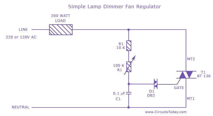 Fine Simple Lamp Dimmer Fan Regulator Circuit Using A Triac Wiring Cloud Dulfrecoveryedborg