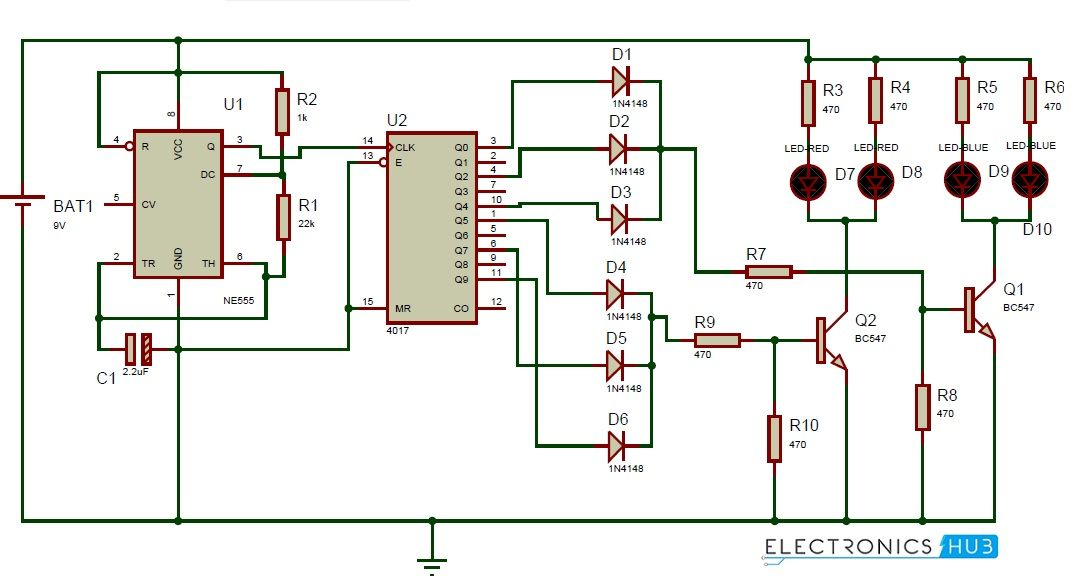 Awesome Police Lights Circuit Using 555 Timer And 4017 Decade Counter Wiring Cloud Staixaidewilluminateatxorg