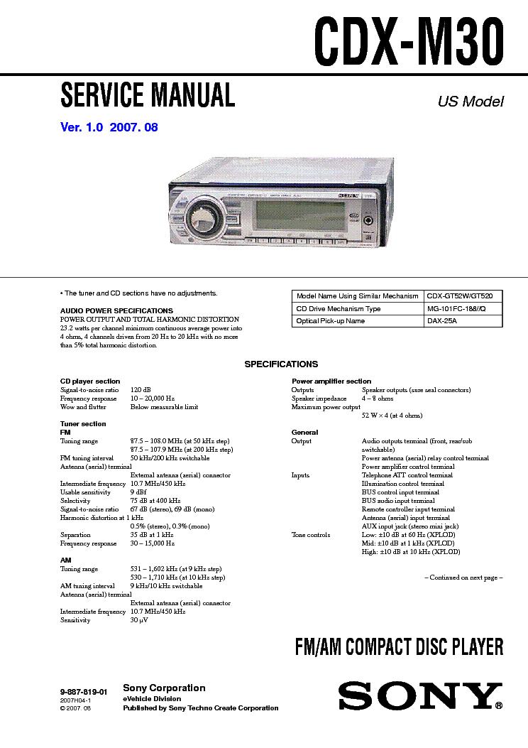 Fine Sony Cdx M30 Service Manual Download Schematics Eeprom Repair Wiring Cloud Timewinrebemohammedshrineorg
