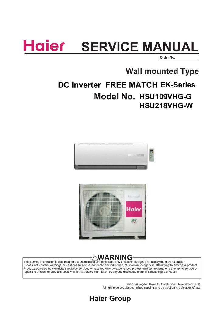 Pleasing Haier Ductless Mini Split Hsu109Vhgg Service Manual Manualzz Com Wiring Cloud Hemtshollocom