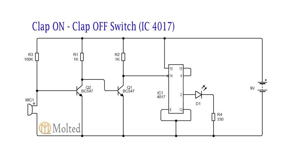 Astonishing Two Clap On Clap Off Circuits 555 Ic 4017 Ic 3 Steps Wiring Cloud Licukosporaidewilluminateatxorg