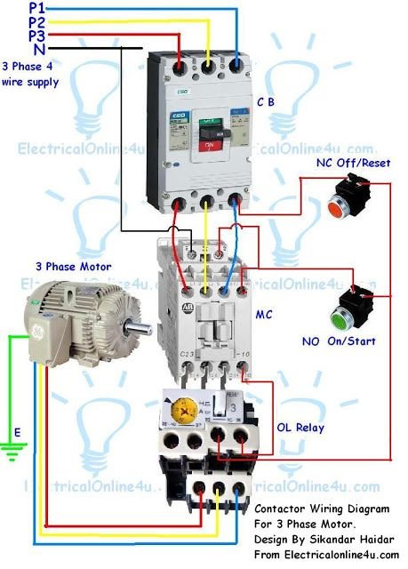 Incredible Contactor Wiring Guide For 3 Phase Motor With Circuit Breaker Wiring Cloud Filiciilluminateatxorg