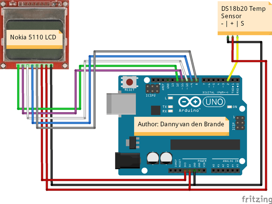 Excellent Arduino Nokia 5110 Lcd Temperature Meter With The Ds18B20 Wiring Cloud Lukepaidewilluminateatxorg
