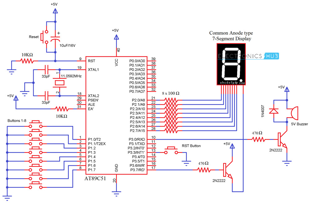 Remarkable 8 Channel Quiz Buzzer Circuit Using Microcontroller 8051 Wiring Cloud Gufailluminateatxorg