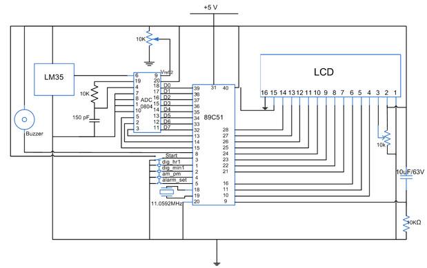 Digital Clock Alarm Schematic - Arm Designs