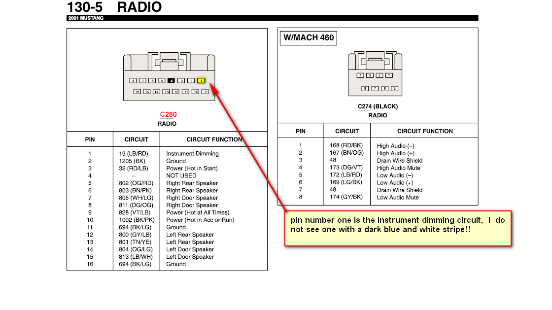 2001 Ford Mustang Gt Stereo Wiring Diagram