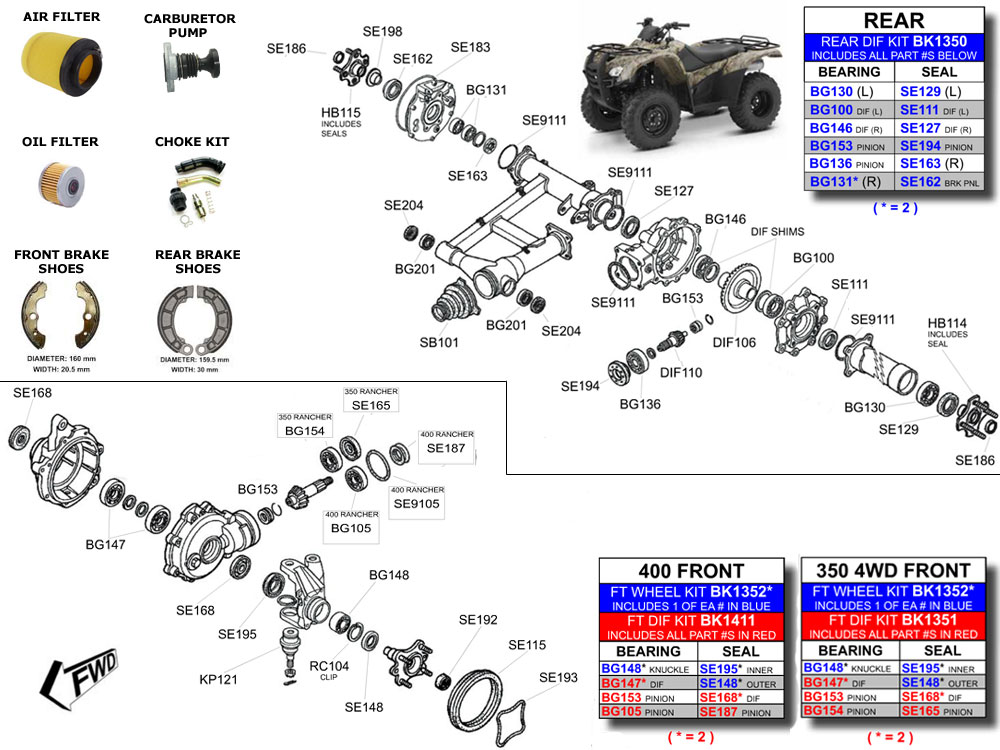 Honda TRX350FE 350 4x4 Rancher ATV Bearings /& Seals Kit Front Wheel 2000-2006