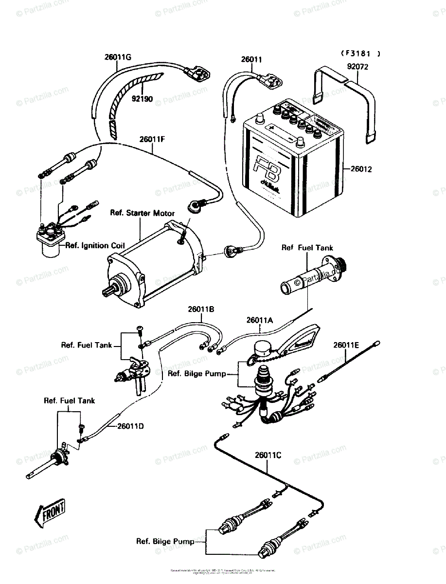 Fine Kawasaki Jet Ski 1991 Oem Parts Diagram For Electrical Equipment Wiring Cloud Grayisramohammedshrineorg
