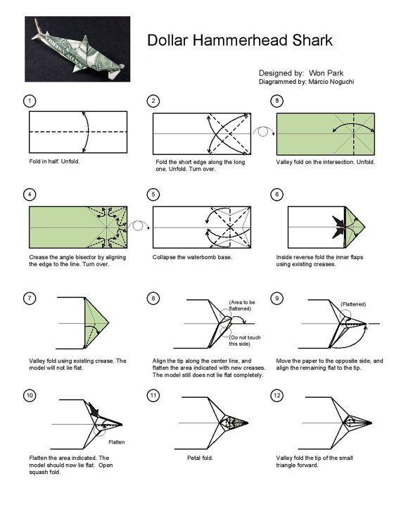 Origami: SHARK - Origami easy tutorial - YouTube | 737x570